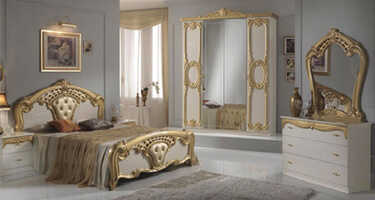 Ben Company Cristina Beige and Gold Finish Italian Bedroom