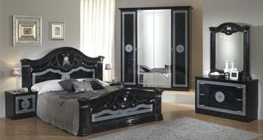 Ben Company Serena Black and Silver Italian Bedroom