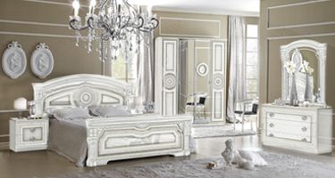 Camel Group Aida White and Silver Finish Italian Bedroom
