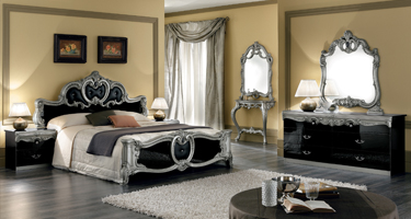 Camel Group Barocco Black and Silver Finish Italian Bedroom