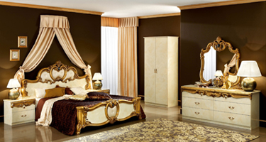 Camel Group Barocco Ivory and Gold Finish Italian Bedroom