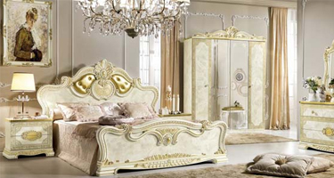 Camel Group Leonardo Ivory and Gold Finish Italian Bedroom