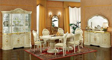 Camel Group Leonardo Ivory and Gold Finish Italian Dining Room