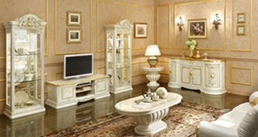 Camel Group Leonardo Ivory and Gold Finish Italian Living Room