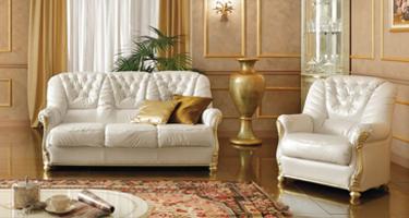 Camel Group Leonardo White Leather Sofas