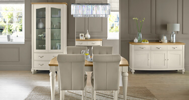 Bentley Designs Montreux Pale Oak and Antique White Dining Room