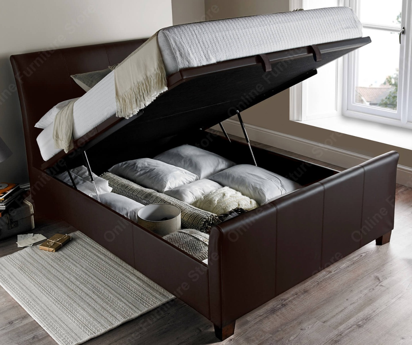 Kaydian Beds Allendale Brown Leather Ottoman Bed Frame
