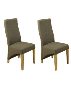 Baumhaus Mobel Oak Full Upholstered Dining Chair (Pair)