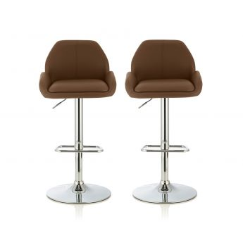 Serene Furnishings Tansy Cappuccino Faux Leather Bar Stool in Pair