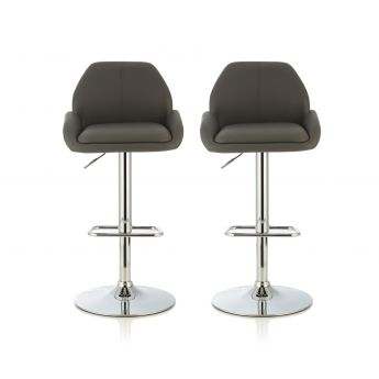 Serene Furnishings Tansy Grey Faux Leather Bar Stool in Pair