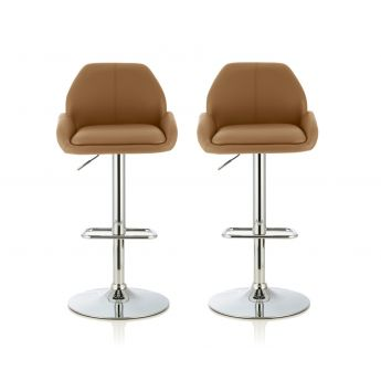 Serene Furnishings Tansy Taupe Faux Leather Bar Stool in Pair