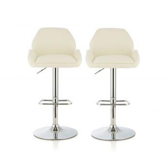 Serene Furnishings Tansy White Faux Leather Bar Stool in Pair