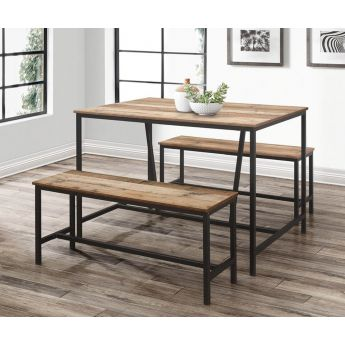 Birlea Furniture Urban Rustic Dining Table with 2 Benches