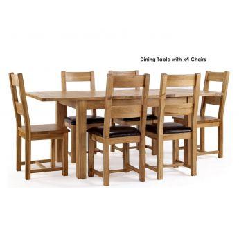 Furniture Line York Oak Rectangular Extending Dining Set with 4 Chairs - 120cm-160cm