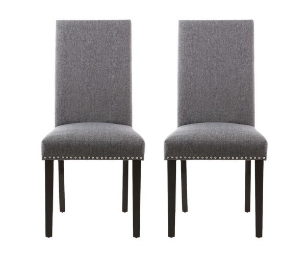 Shankar Randall Stud Detail Linen Effect Steel Grey Dining Chair in Pair