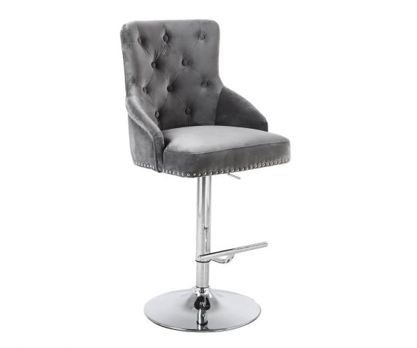 Shankar Rocco Brushed Velvet Grey Bar Stool