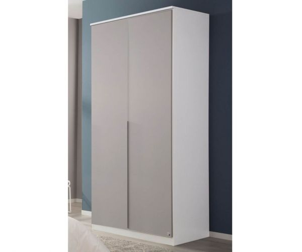 Rauch Texas Silk Grey Front 2 Door Wardrobe with Cornice