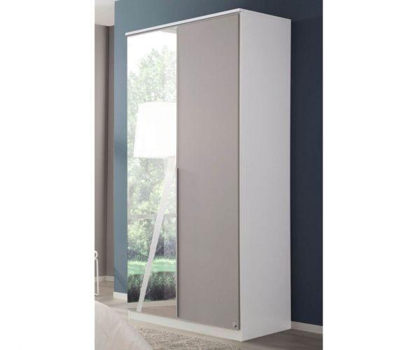 Rauch Texas Sonoma Oak Carcase with Silk Grey Front 2 Door 1 Mirror Wardrobe With Shelves