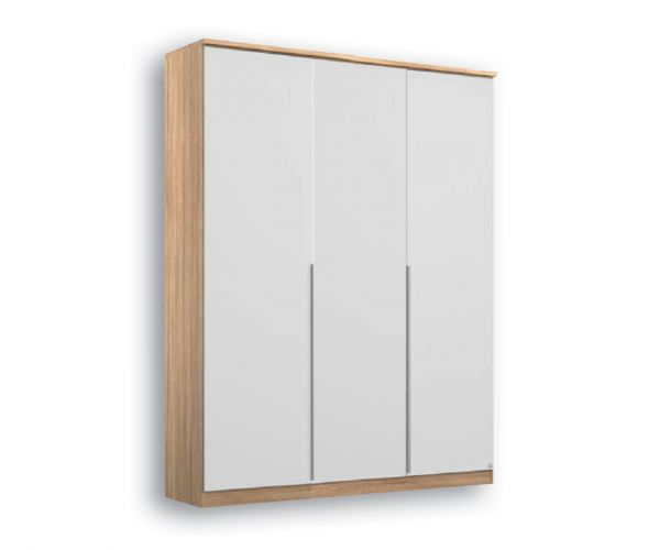 Rauch Texas Sonoma Oak Carcase with Alpine White Front 4 Door Wardrobe With Cornice