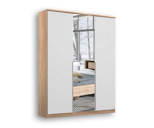 Rauch Texas Sonoma Oak Carcase With Alpine White Front 4 Door 2 Mirror Wardrobe with Cornice