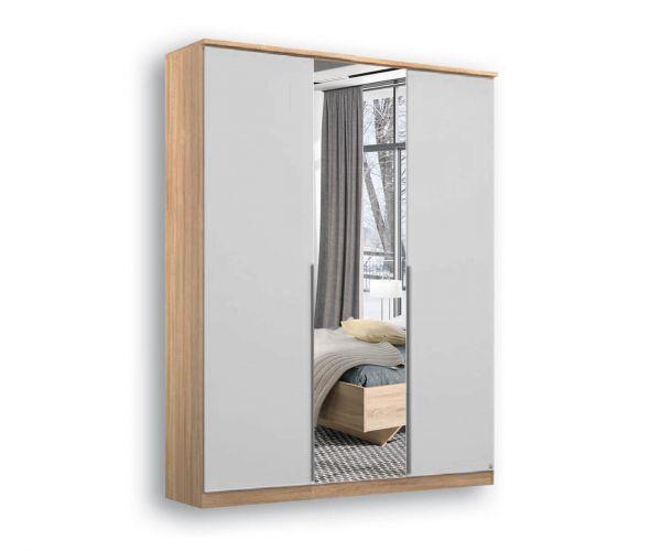 Rauch Texas Sonoma Oak Carcase with Silk Grey Front 3 Door 1 Mirror Wardrobe With Cornice