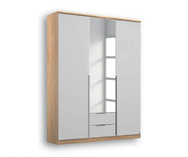 Rauch Texas Sonoma Oak Carcase With Alpine White Front 3 Door 1 Mirror Wardrobe with 2 Drawers