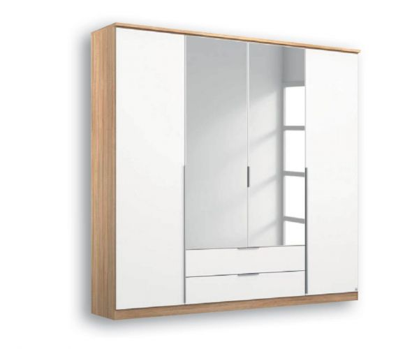 Rauch Texas Sonoma Oak Carcase With Alpine White Front 4 Door 2 Mirror Wardrobe with 2 Drawers