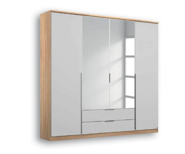Rauch Texas Sonoma Oak Carcase With Silk Grey Front 4 Door 2 Mirror Wardrobe with 2 Drawers
