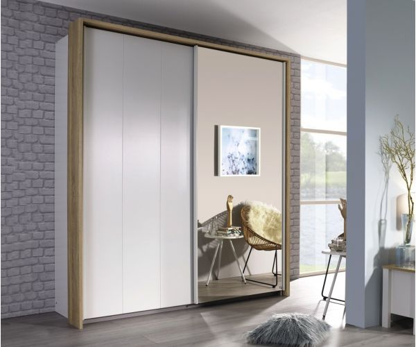 Rauch Chicago Alpine White with Sonoma Oak 2 Door 1 Mirror Wardrobe with Passepartout