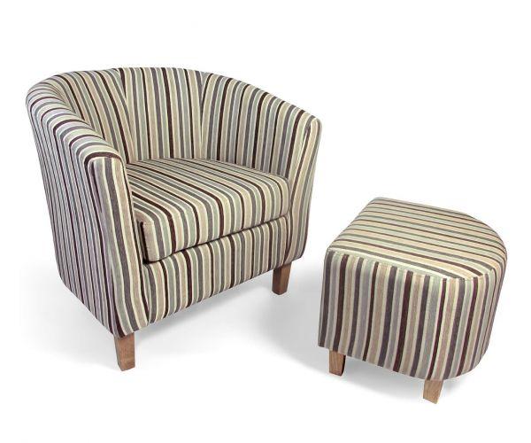 Shankar Tub Chenille Stripe Duck Egg Blue Chair and Footstool Set