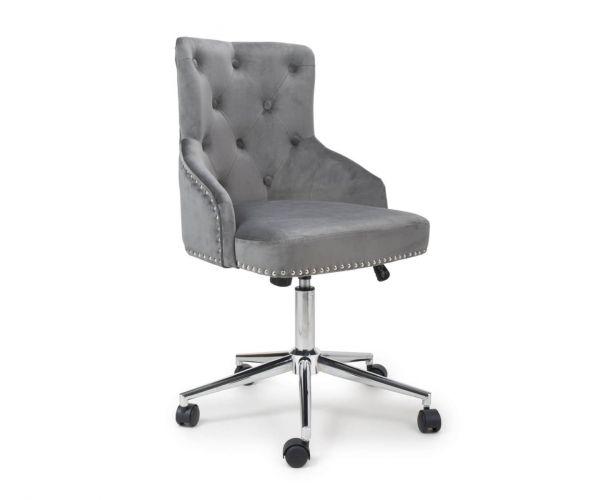 Shankar Rocco Brushed Velvet Grey Office Chair
