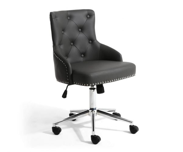 Shankar Rocco Graphite Grey Leather Effect Office Chair