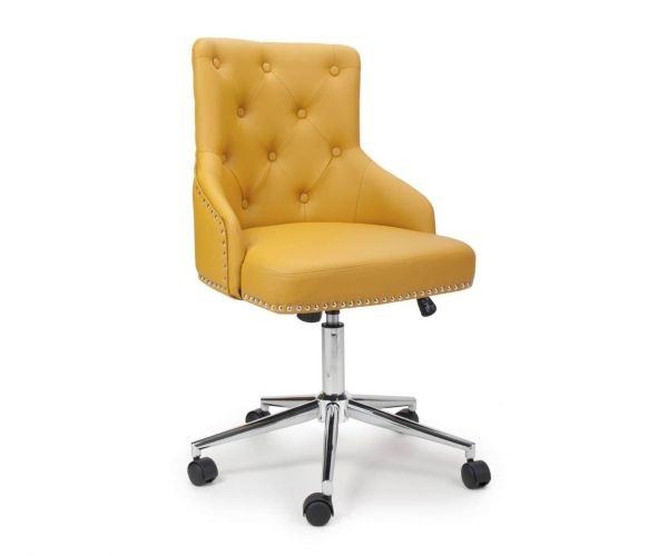 Shankar Rocco Yellow Leather Effect Office Chair