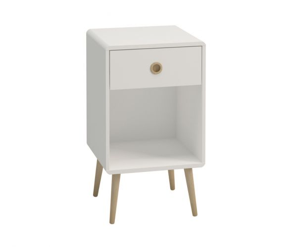 Steens Soft Line White 1 Drawer Bedside Cabinet