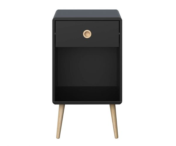 Steens Soft Line Black 1 Drawer Bedside Cabinet