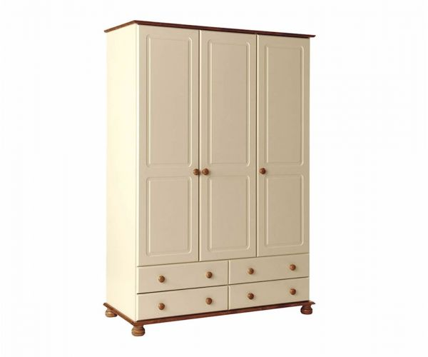 FTG Copenhagen Cream and Pine 3 Door 4 Drawer Wardrobe