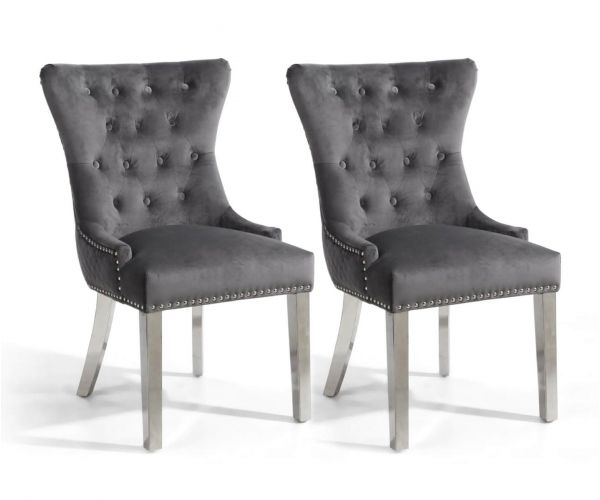 Shankar Lionhead Brushed Velvet Grey Ring Back Accent Chair with Silver Stainless Steel Legs