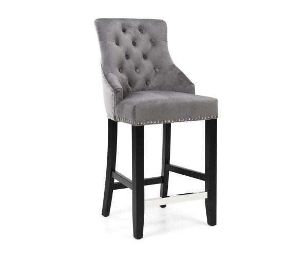 Shankar Chandler Brushed Velvet Grey Ring Back Bar Chair