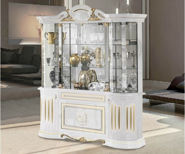 Ben Company Betty White and Gold Finish Italian 4 Door Vitrine