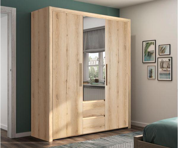 Gami Abby Helvezia Oak 3 Door 2 Drawer Wardrobe