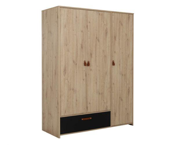 Gami Arthus Artisan Oak 3 Door 1 Drawer Wardrobe