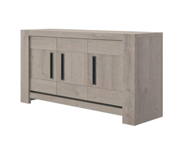 Gami Boston Light Grey Oak 3 Door Sideboard