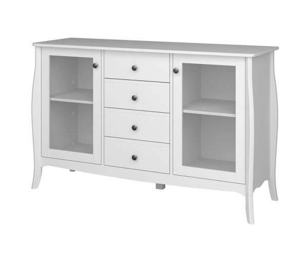 Steens Baroque White 2 Door 4 Drawer Glazed Sideboard
