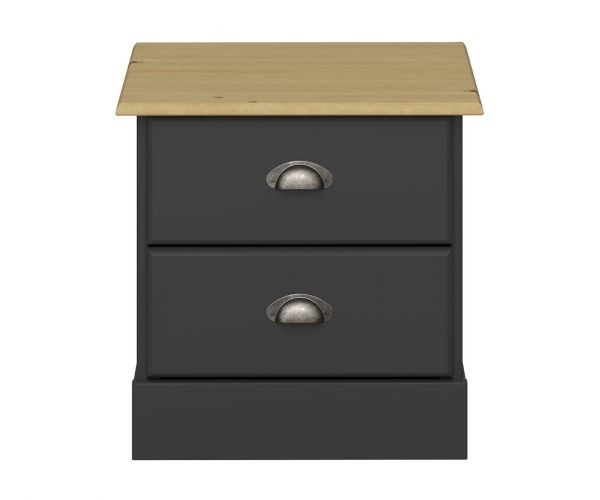 Steens Nola Black and Pine 2 Drawer Bedside Table