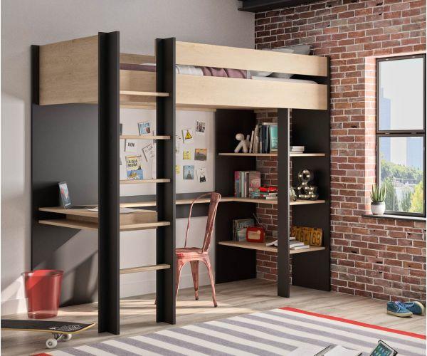 Gami Duplex Natural Chestnut Mezzanine High Bed Frame