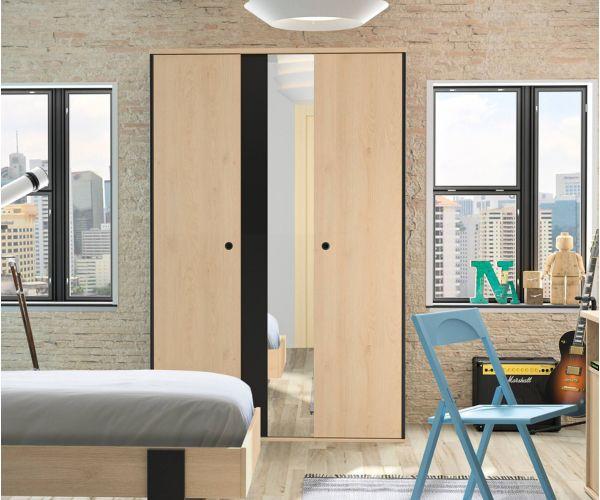 Gami Duplex Natural Chestnut 2 Door Mirror Wardrobe