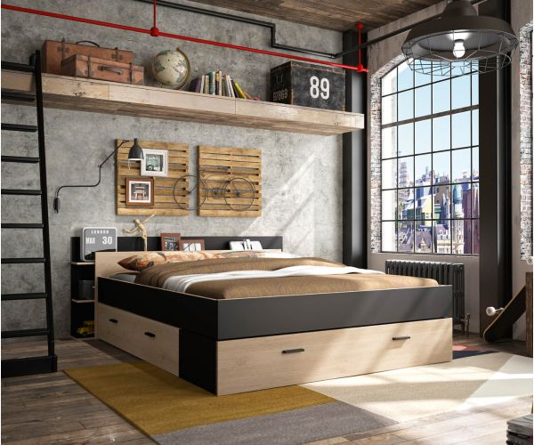 Gami Tonight Black and Natural Chestnut Storage Bed Frame