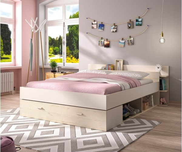 Gami Tonight White and Bleached Pine Storage Bed Frame
