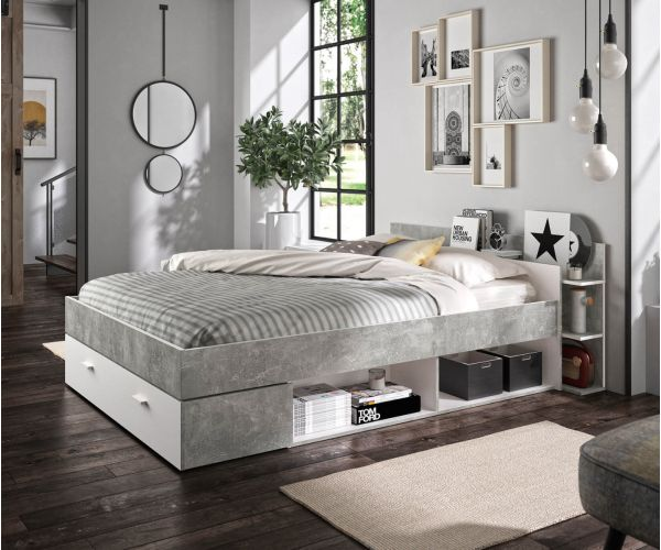 Gami Tonight White and Concrete Storage Bed Frame