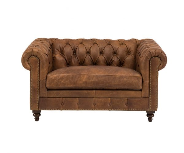 Derrys Furniture Chesterfield Brown Leather Snuggle Chair